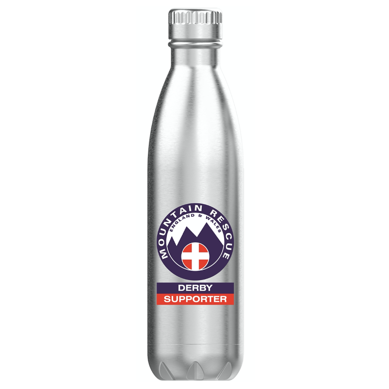 Silver water bottle with the Derby Supporter logo on